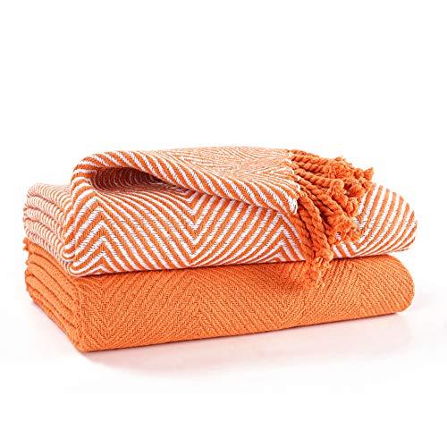 EHC Luxury Pack of 2 Chevron Cotton Single Sofa Throw Blanket, 125x 150cms - Orange
