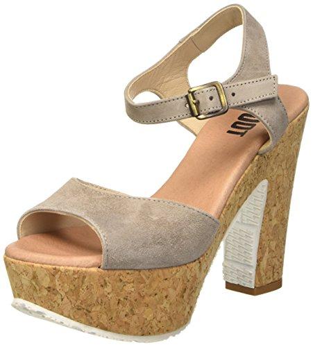Shoot Shoot Shoes SH-160171VV Damen Sommer Leder High Heels Plateau Sandale, Damen Plateau Sandalen, Beige (Taupe), 39 EU