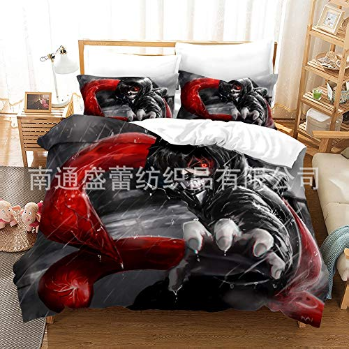 Zenghh 3 PCS Set Tokyo Ghoul - Kaneki Ken Ropa de Cama, Dos sobre Cierre Pillow Frange Frange & One Edredent Shell Protective, RCSS Corpse-Ghost Organism Monster Edred Cound For Hombre