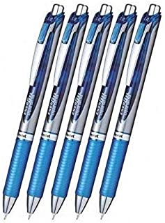 Pentel EnerGel Deluxe RTX Retractable Liquid Gel Pen,1.0mm, Midium Line, Metal Tip, Blue Ink-Value set of 5