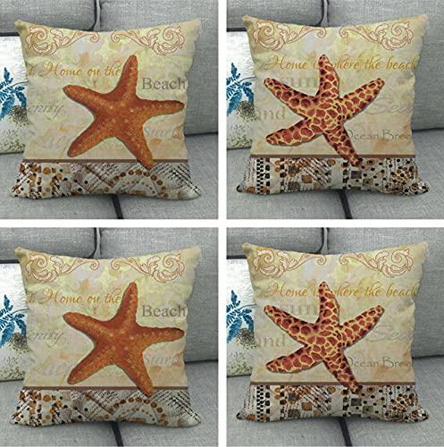 JOVEGSRVA Juego de 4 fundas de cojín de estrellas de mar de dibujos animados, impermeables, para patio, jardín, banco, sala de estar, sofá, decoración de 45 x 45 cm