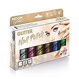 Esmalte de Uñas Holográfico Brillante por Moon Glitter - 14ml - Set de regalo que contiene 6 esmaltes de uñas: plata, rosa, oro, oro rosa, azul y verde