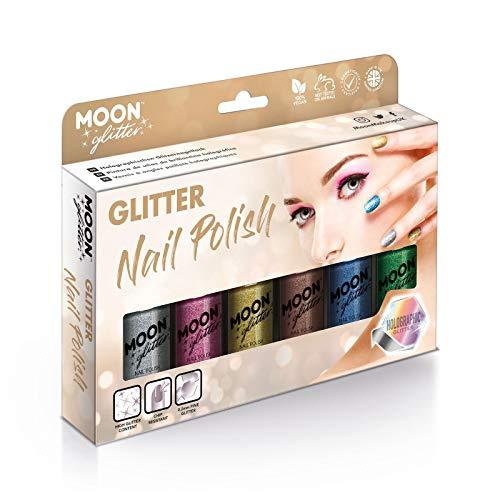 Holographischer Glitzer Nagellack von Moon Glitter - 14ml - Geschenkset mit 6 Nagellacken - Silber, Pink, Gold, Roségold, Blau und Grün
