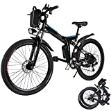 Aceshin 26'' Folding Electric Mountain Bike 250W Electric Bicycle with Removable Large Capacity Lithium-Ion Battery, Professional 21 Speed Gears (Black)