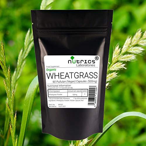 Nutrics 100% Pure 500mg Organic Wheatgrass |90 Vegan Capsules (1 Month Supply) |Made in The UK by Nutrics Laboratories |Suitable for Vegan Vegetarian Halal Kosher