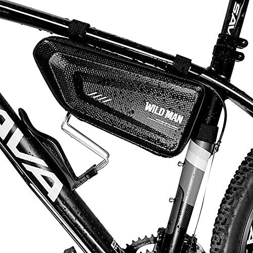 VERTAST Bolsa de marco de bicicleta Bolsa de almacenamiento de tubo superior de gran capacidad impermeable triángulo duro Shell MTB bolsa, cerradura delantera