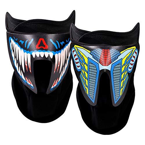 ATROPOS 2 Stück Sound aktivierte Leuchtmaske, LED Halloween-Maske, leuchtende Musik-Maske für Damen und Herren, Tanzen, Reiten, Weihnachten, Halloween, Party-Zubehör
