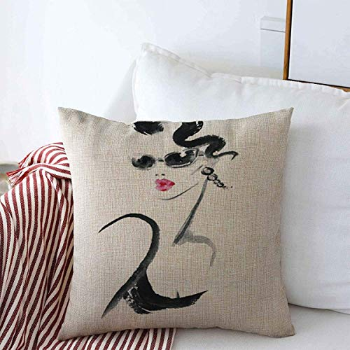 N\A Throw Pillow Case Abstract Lady Gafas de Sol Peinado Vestido Cara Chica Diseño Casa de Campo Cojín Cuadrado Fundas de Almohadas para Decoraciones del hogar