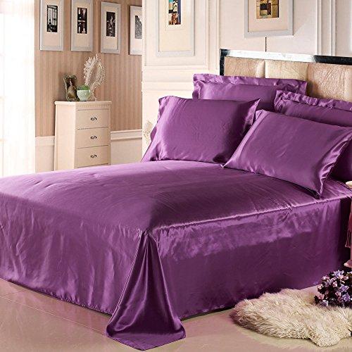 LilySilk - Sábana Lisa de Seda sin Costuras (25 Momme, 100% Seda Pura), Color Violeta