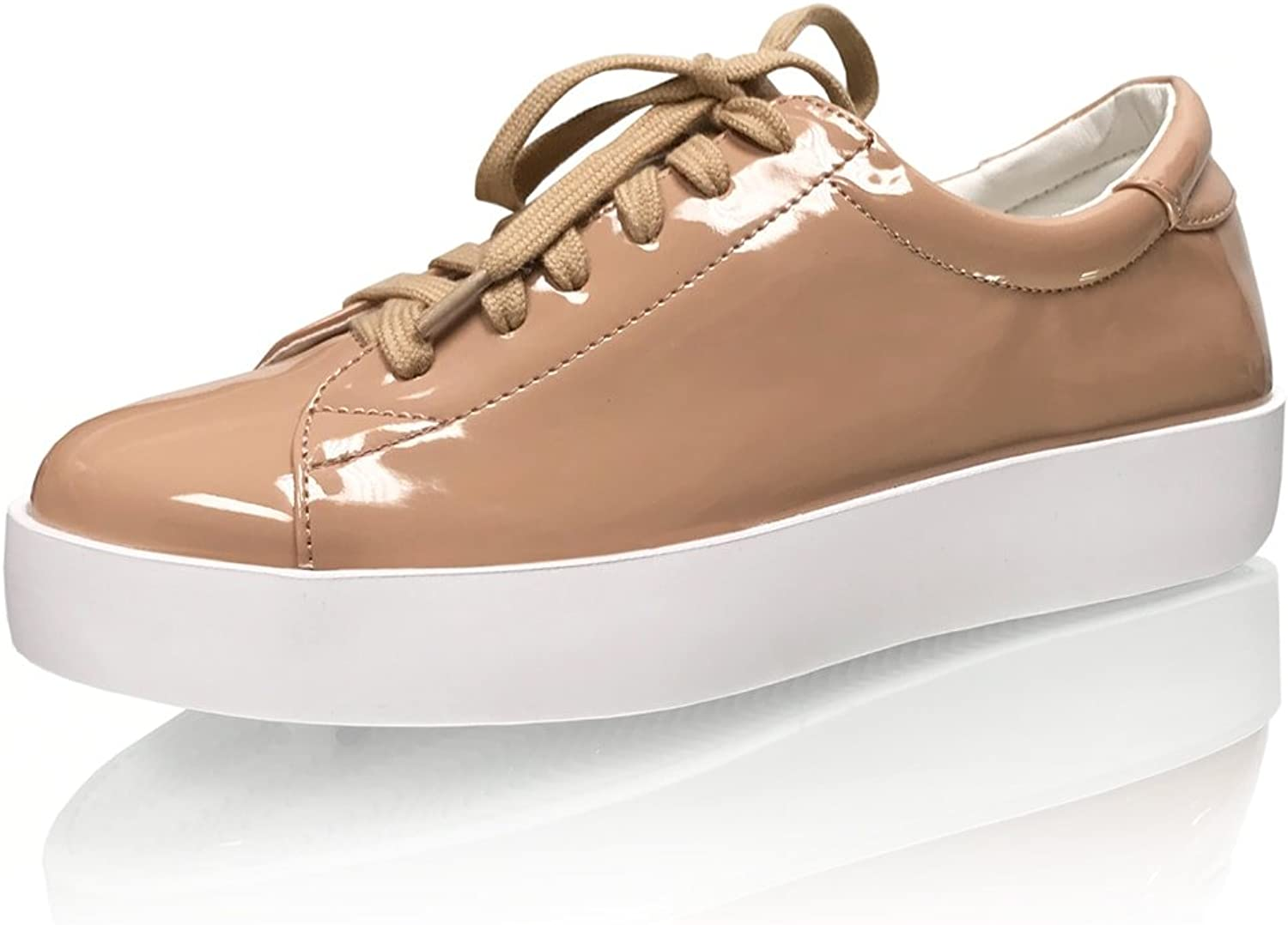 Marc Defang New York Womens Patent Leather Nude Fashion Sneakers - The Floater