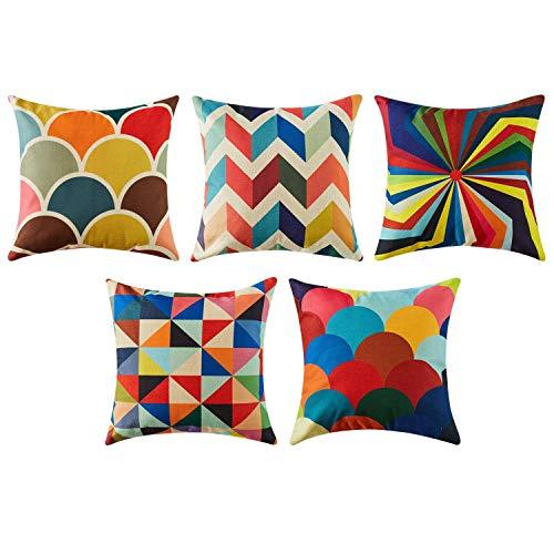 Topfinel Geométrico Lino Fundas Cojines para Cama Decorativos Almohadillas para Sillas Sofa Conjunto de 5,50x50cm,Serie