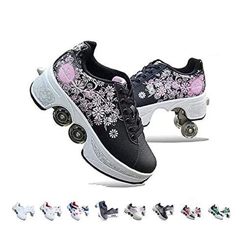 PIAOL Rollschuhe für Damen, Quad-Rollschuhe für Kinder, Schuhe mit Rädern für Mädchen, Unisex-Schuhe mit Rädern, Kick-Rollschuhe für Erwachsene, Sport, Outdoor, technische Skateboarding-Schuhe