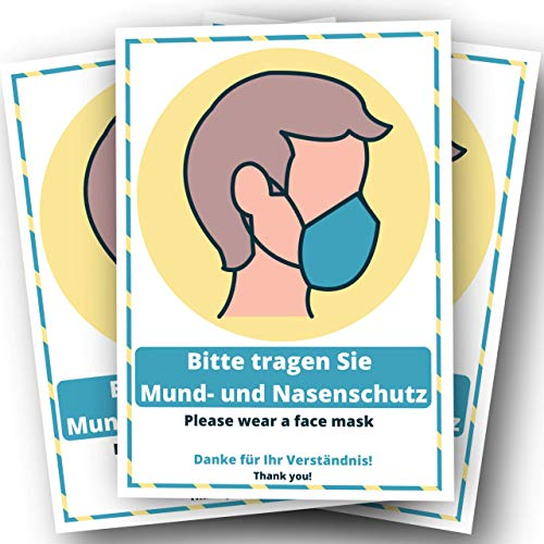 3 Aufkleber Maskenpflicht Schild Mundschutz - in DEUTSCH & ENGLISCH Mund und Nasenschutz tragen Hinweisschild DIN A5 Corona Warnschild selbstklebend Indoor Outdoor
