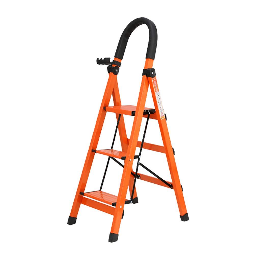 FLYSXP Escalera Plegable de 3 peldaños. Escalera de Metal. Adulto con Mango de Goma. Pedal Ancho hasta 330 Libras. Escalera Naranja Ligera. Taburete Plegable: Amazon.es: Hogar