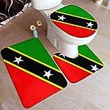 Klassische Flagge von Saint Kitts & Nevis Sturmhaube Komfort Flanell Badteppich Matten Set 3 Stück weich rutschfest mit Rückenpolster Badematte + Kontur Teppich + Toilettendeckel Abdeckung saugfähig
