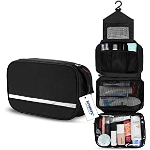 Hanging Toiletry Bag Waterproof - Small Travel Foldable Wash Bag for Men, Women Makeup Bag with 4 Compartments, High Quality Zipper Cosmetic Bags