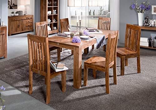Table à manger 140x90cm - Bois massif d'acacia laqué - SHAMAN #103