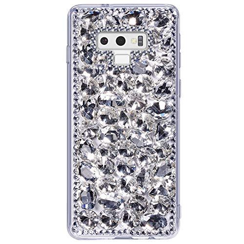 Uposao Kompatibel mit Samsung Galaxy Note 9 Hülle Strass Silikon Glitzer Hülle Bling Glänzend Kristall Diamant Mädchen Frauen Handyhülle TPU Silikon Hülle Crystal Case Tasche,Silber