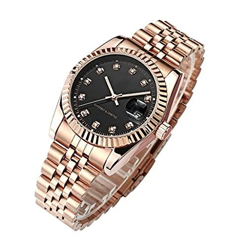 YXYY Reloj de pulsera de acero con correa de metal de oro rosa para hombres y mujeres, reloj de vestir (color: B)