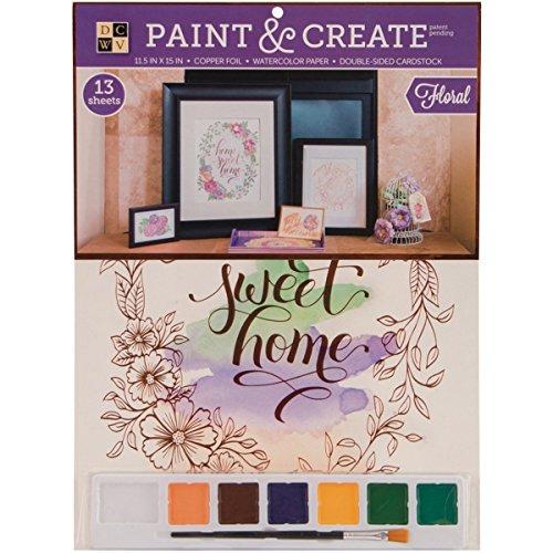 Diecuts met een weergave verf en maken aquarel kit 11.5 x 15-inch Floral met koperfolie, papier, veelkleurig, 0.1 x 5.4 x 7.15 cm