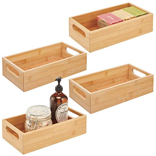 mDesign Deep Bamboo Wood Storage Bin with Handles for Organizing Hand Soaps, Body Wash, Shampoos, Lotion, Conditioners, Hand Towels, Hair Accessories, Body Spray, Mouthwash - 4 Pack - Natural