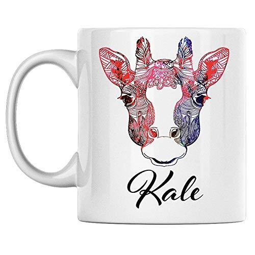 N\A aza de Jirafa Personal con Nombre Kale, Taza de café de cerámica Blanca Impresa en Ambos Lados, cumpleaños para él, Ella, niño, niña, Esposo, Esposa, Hombres y Mujeres