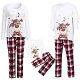 AmyGline Weihnachten Schlafanzug Familie Pyjamas Set Deer Top Karierte Hose Schlafanzüge Nachthemd...