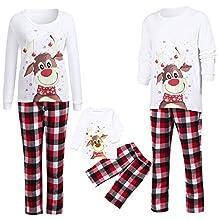 Zilosconcy Pijamas Navideños Familiares Conjunto Pantalon y Top Pijamas Mujer Hombre Invierno Manga Larga Pijama 2 Piezas Homewear