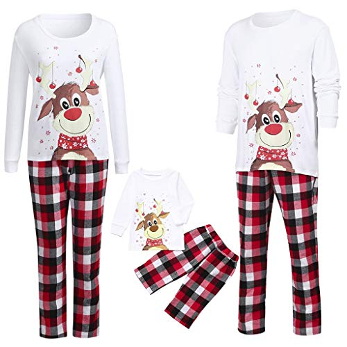 Pijamas de Navidad Familia para Mujer Hombre Niños Niña Algodón Camisas Ciervo de Manga Larga + Pantalones Largos Sudadera Invierno Conjunto de Pijamas Familiar riou