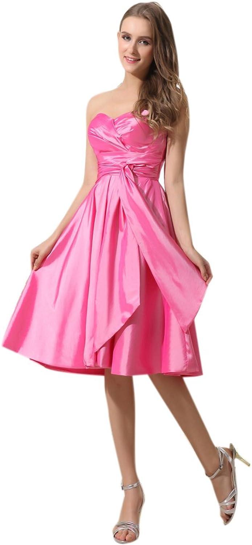 Dearta Women's ALine Sweetheart KneeLength Charmeuse Evening Dresses
