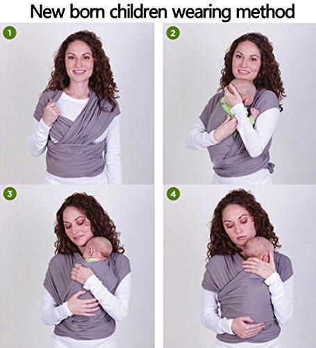Ostenx Tragetuch Babytragetuch Bauchtrage Babytrage Baby Wrap Tragehilfe Baby Carrier Sling Babytragen Grau Babytragetücher für Männer und Frauen - 4