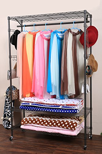 Homdox 3-Tier Garment Rack Heavy Duty Clothing Wire Shelving Rolling Free Standing Closet with Lockable Wheels 1 Hanging Rod and 2 Pairs Side Hooks Gray