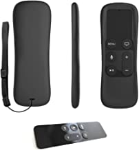 Non-Slip Grip Remote Protective Silicone Cover Case and Secure Gaming Remote Loop, Strap for Apple TV 4 Siri Remote Controller (Apple-TV-Remote Case Black)