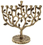 Hanukkah Menorah Tree Life Antique Silver Gold Finish