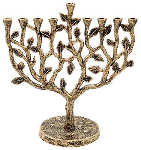 The Dreidel Company Menorah Tree of Life Antique Gold Finish (Tree of Life Antique Gold Finish)