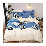 KFZ Panda Printed Blue Beige Color Bed Set [3pcs Bedding -60'x80' Duvet Cover, Flat Sheet, Pillow Case. No Comforter] Animal Theme, Quality Microfiber, Soft, 100% Kids Safe (Cute Panda, Twin)