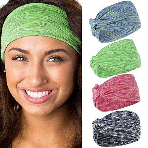 Fashband Stirnbänder für Herren und Damen, Schweißband, Fitnessstudio, Stretch, Sport, Kopfband, Workout, Haarbänder für Laufen, Fitness, Yoga, modisches Stirnband für Frauen, 4 Stück