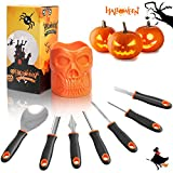 Henscoqi Pumpkin Carving Kit 7 Packs Carving Tools Set, Pumpkin Carving Set Jack-O-Lantern Sculpting Set with Heavy Duty Stainless Steel Durable Handle, Halloween Decoration Set with Storage Skull Cup