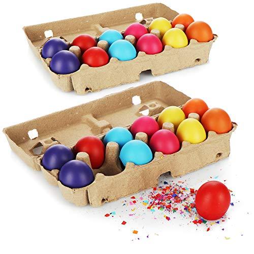 com-four® 24x Huevos de Pascua con Confeti - Huevos con Confeti de Colores para Pascua - Confeti en Huevos de gallina Pintados de Verdad - Huevos de Pascua de Colores para la decoración