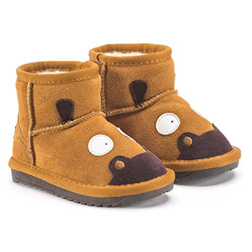 Snugs Boots Kinderstiefel aus Lammfell und Wild-Leder Stiefel für Kinder Jungen und Mädchen Lammfellschuhe, Hellbraun, 21