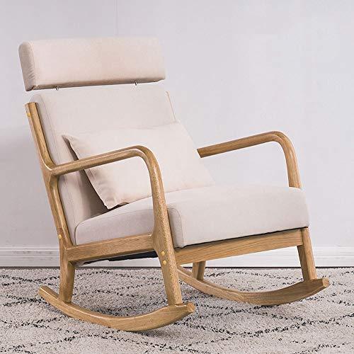 Lazy Stoel, kruk, balkon lift hoofdsteun schommelstoel, Nordic massief houten stoel, creatief woonkamer vrijetijdsbank comfortabele schommelstoel