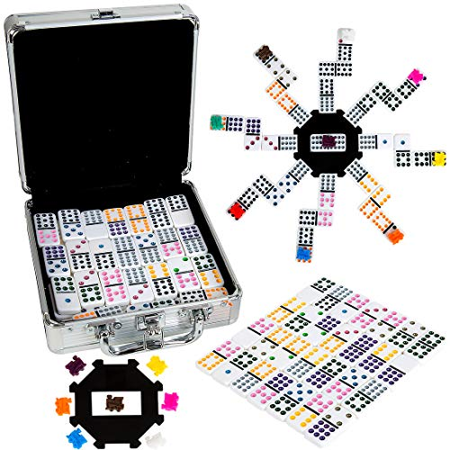 Tocebe Mexican Train Dominoes, Dominoes Set Double 12 for Travel, Mexican Train with Aluminum Case for Kids and Families