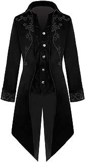Crubelon Men's Steampunk Vintage Tailcoat Jacket Gothic Victorian Frock Coat Uniform Halloween Costume