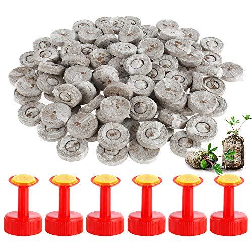 N/U 100 pellets de turba, turba en discos de turba prensada para el cultivo de plantas de jardinería, arranque de propagación y germinación para plantas en maceta Familiares