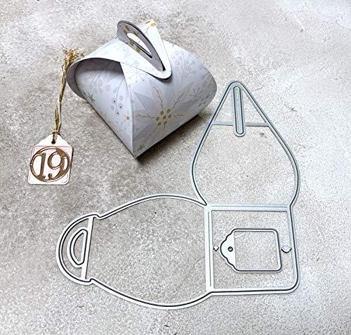 Simplelettering Stanzschablone Cutting Dies Box Schachtel Pralinenschachtel inkl. gratis Geschenkanhängerstanze, 5x7x10cm, Grundfläche 5x5 cm, 2-teilig