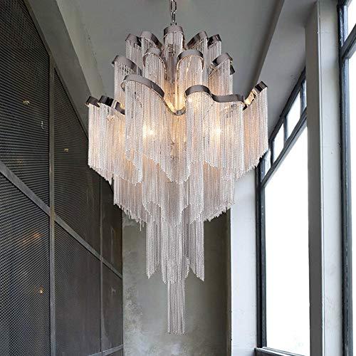 Creatieve persoonlijkheid duplex designer kroonluchter LED eettafellamp luxe hangende ketting hanglamp smeedijzers aluminium hanglamp 4 lampen decoratieve hanglamp wit vloerlamp Small
