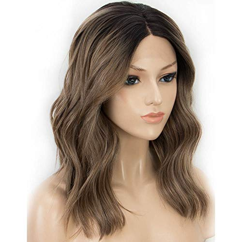 LEZDPP Dark Root Short Bob Wavy Brown Wig 150% Density Synthetic Lace Front Wig for Female Hair Heat Resistant Fiber Hairpieces (Color : D)