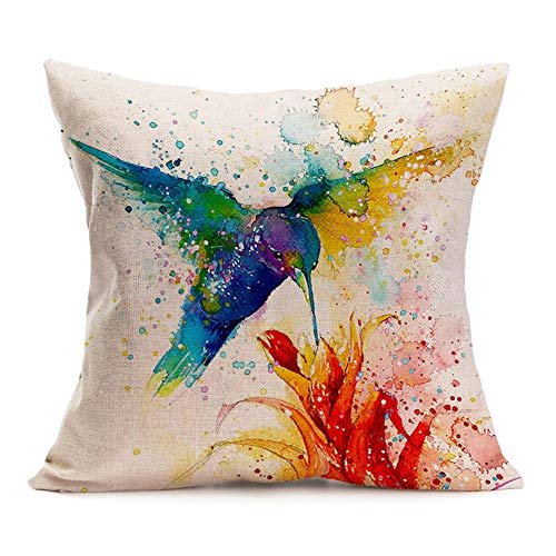 Asamour Watercolor Animal Style Throw Pillow Covers Hummingbird Pattern Cotton Linen Cushion Case Square Home Sofa Decorative Pillowcase 18inches (Hummingbird)