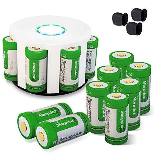 Arlo Akkus, morpilot Wiederaufladbare 3.7V 700mAh Li-ion Arlo Batterien, mit Batterie Gehäuse und 3 Silikon Hüllen für Arlo Überwachungskamera VMC3030/3230/3330/3430, Grün (12 Stücke)