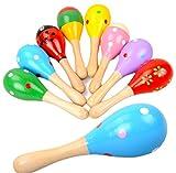 Rajjio 木製 マラカス 音楽玩具 幼児楽器 知育 お遊戯 11.5cm ランダム色 (10個セット)